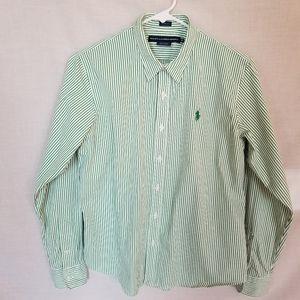 Ralph Lauren Sport Green & White Stripe Shirt 12